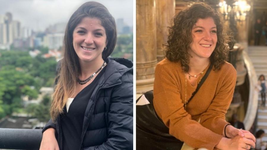 Marina, com o cabelo alisado por químicas e, um ano depois, com os seus cachos naturais - Arquivo pessoal