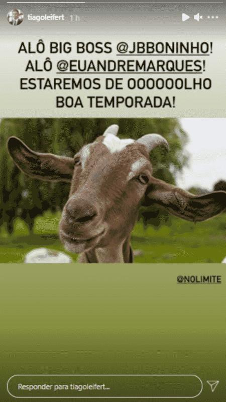 """Story de Tiago Leifert desejando boa sorte a André Marques e Boninho na nova temporada de """"No Limite"""" - Reprodução/Instagram - Reprodução/Instagram"""