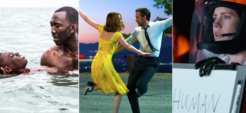 """""""La La Land - Cantando Estações"""" (centro) lidera com 14 indicações; """"Moonlight: Sob a Luz do Luar"""" (esq.) e """"A Chegada"""" (dir.) seguem com 8 indicações - Montagem/UOL"""