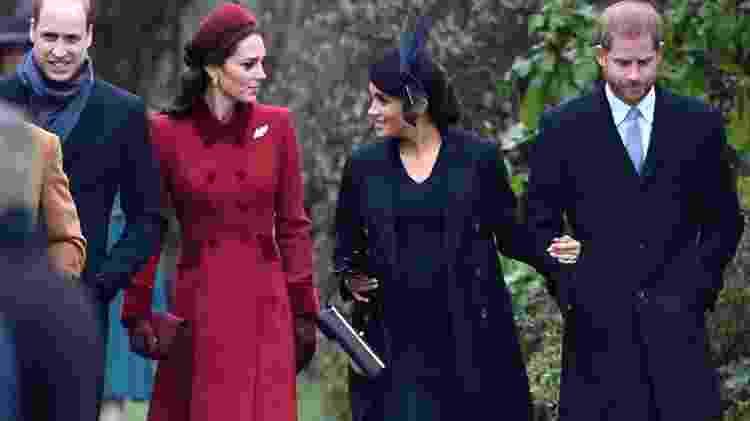 William, Kate, Meghan e Harry vão à missa de Natal - AFP - AFP