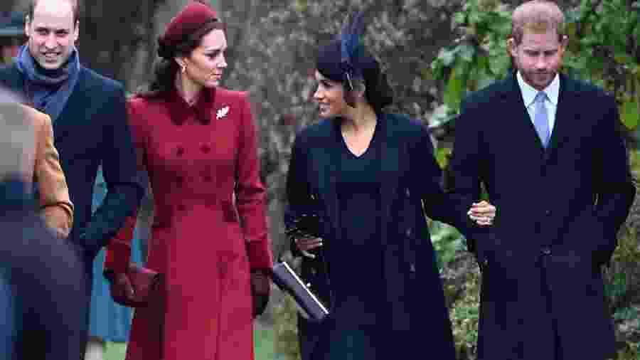 William, Kate, Meghan e Harry vão à missa de Natal - AFP
