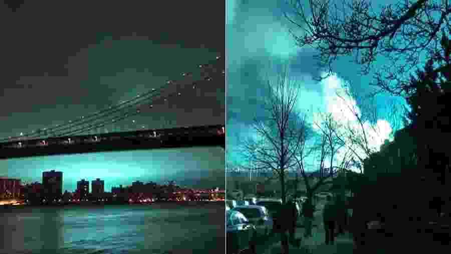 Luzes azuis iluminam Nova York e habitantes desconfiam de ataque alienígena - AFP
