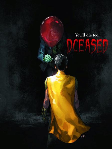 """Capa da HQ """"#DCEASED"""", em que Coringa brinca de ser Pennywise - Reprodução/Twitter"""