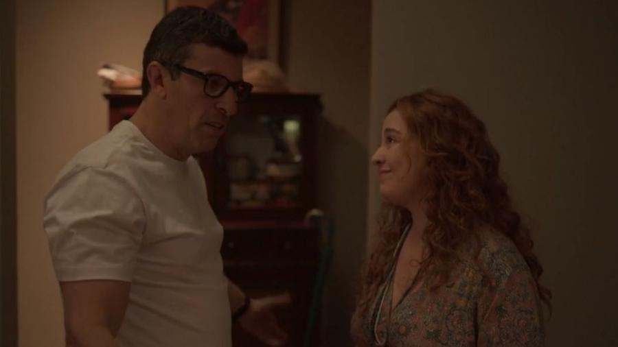 Matias, Milhem Cortaz, e Miranda, Debora Lamm, discutem sobre vale night - Reprodução/TV Globo