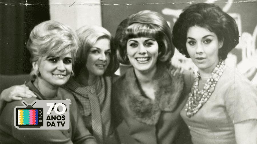 """Hebe Camargo, Maximira, Branca e Liria, apresentadoras do programa o """"Mundo é das Mulheres"""", um dos primeiros programas femininos da TV brasileira - Folhapress/Arte UOL"""