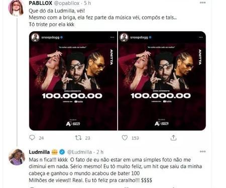 Tuíte de Ludmilla - Twitter