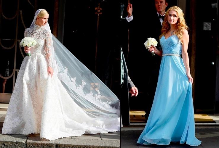 10.jul.2015 - Paris Hilton (dir) foi madrinha de casamento da irmã, Nick