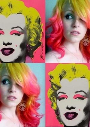 """Cabelos colorido inspirado na obra """"Marilyn"""", de Andy Warhol - Reprodução/Instagram"""