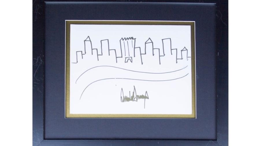 Desenho feito pelo presidente Donald Trump há uma década - Nate D. Sanders Auctions