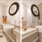 Na busca por manter a história dos moradores, um casal de idosos, as profissionais da Kali Arquitetura reaproveitaram diversos itens decorativos neste lavabo de apenas 1,6 m² - Marcelo Donadussi/ Divulgação