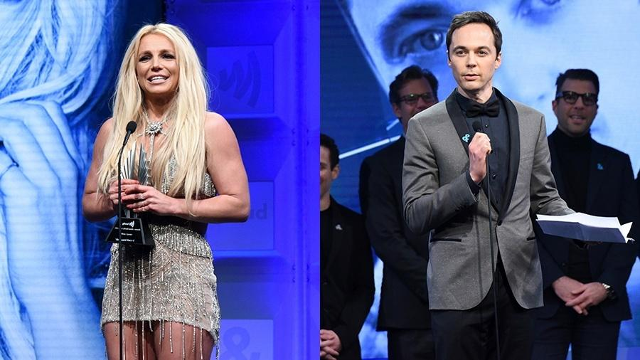 Britney Spears e Jim Parsons no 29º GLAAD Media Awards - Getty Images