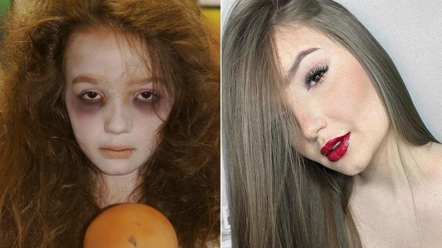 Anna Livya Padilha como Menina Fantasma, em 2012, e atualmente - Montagem/UOL/Roberto Nemanis/SBT/Reprodução/Instagram