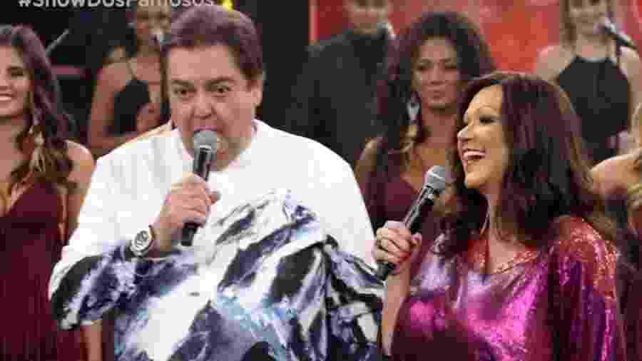 Faustão e Solange Almeira no Show dos Famosos do Domingão do Faustão - Reprodução/Globo