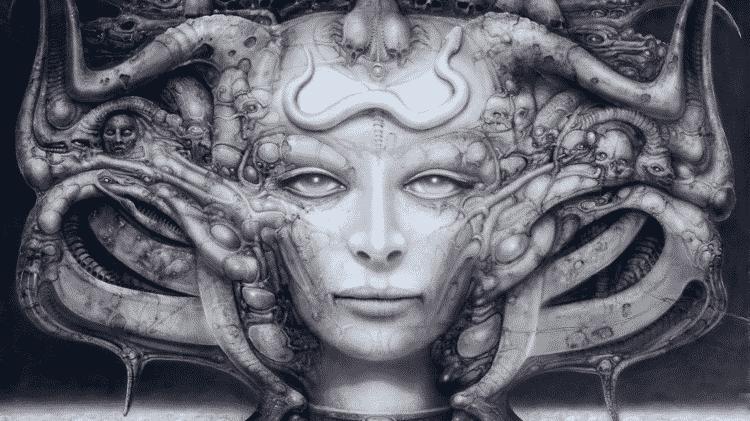 Uma das incríveis artes do artista surrealista H.R. Giger - Reprodução