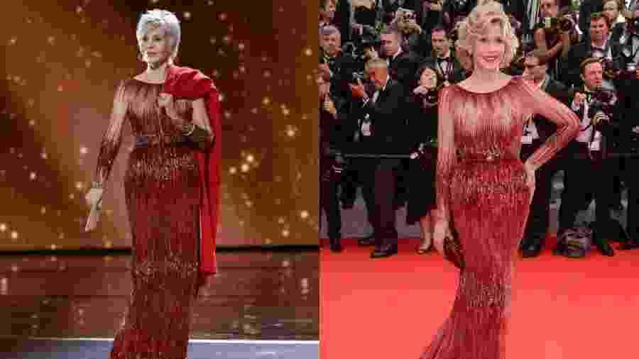 Jane Fonda com vestido Elie Saab e casaco vermelho na noite deste domingo (9); vestido foi usado em 2014, em Cannes - Getty Images