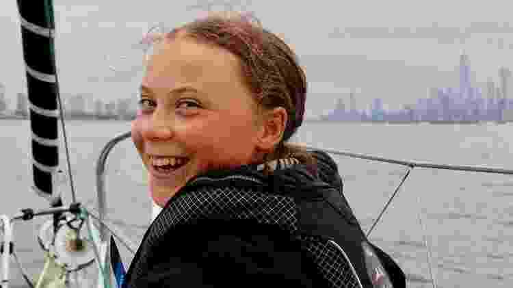 Greta foi à conferência do clima da ONU em Nova York, cruzando o Atlântico em um veleiro, para evitar a poluição da queima de combustível do avião - Reprodução/Instagram Greta Thunberg - Reprodução/Instagram Greta Thunberg