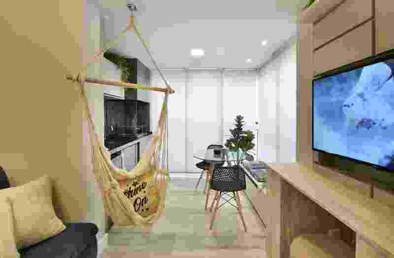 Área gourmet, rede e móveis multifuncionais: apê de 38 m² será inspiração - Divulgação