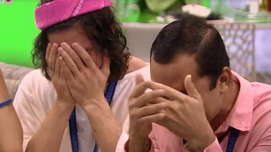 BBB 21: Fiuk e Gil emocionados no almoço do anjo - Reprodução/Globoplay