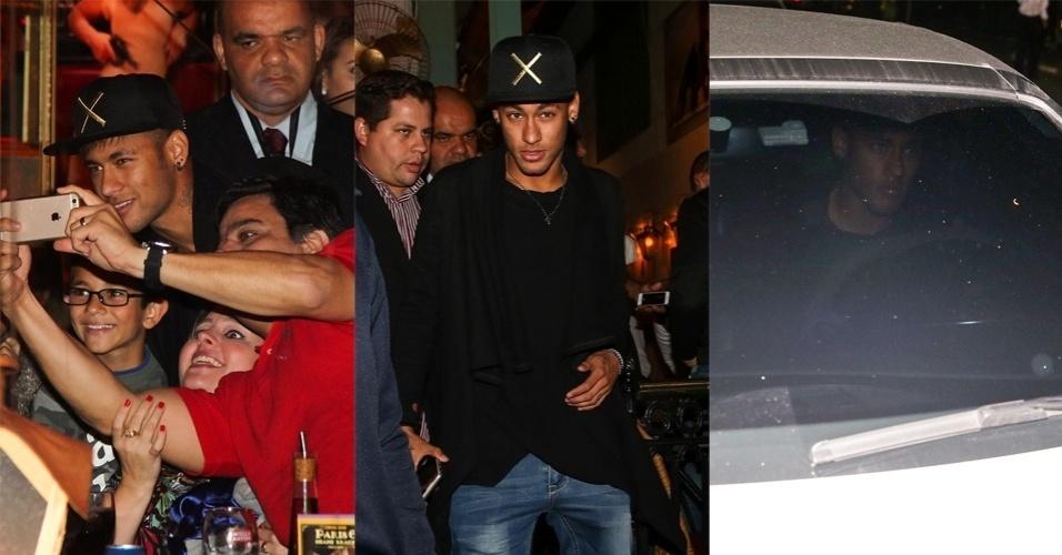 2.jul.2015 - Neymar Jr. vai a restaurante no meio da madrugada e é assediado por fãs e paparazzi na zona sul de São Paulo