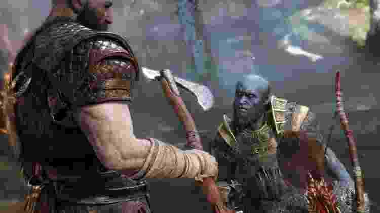 Kratos entrega seu machado ao ferreiro Brok - Divulgação