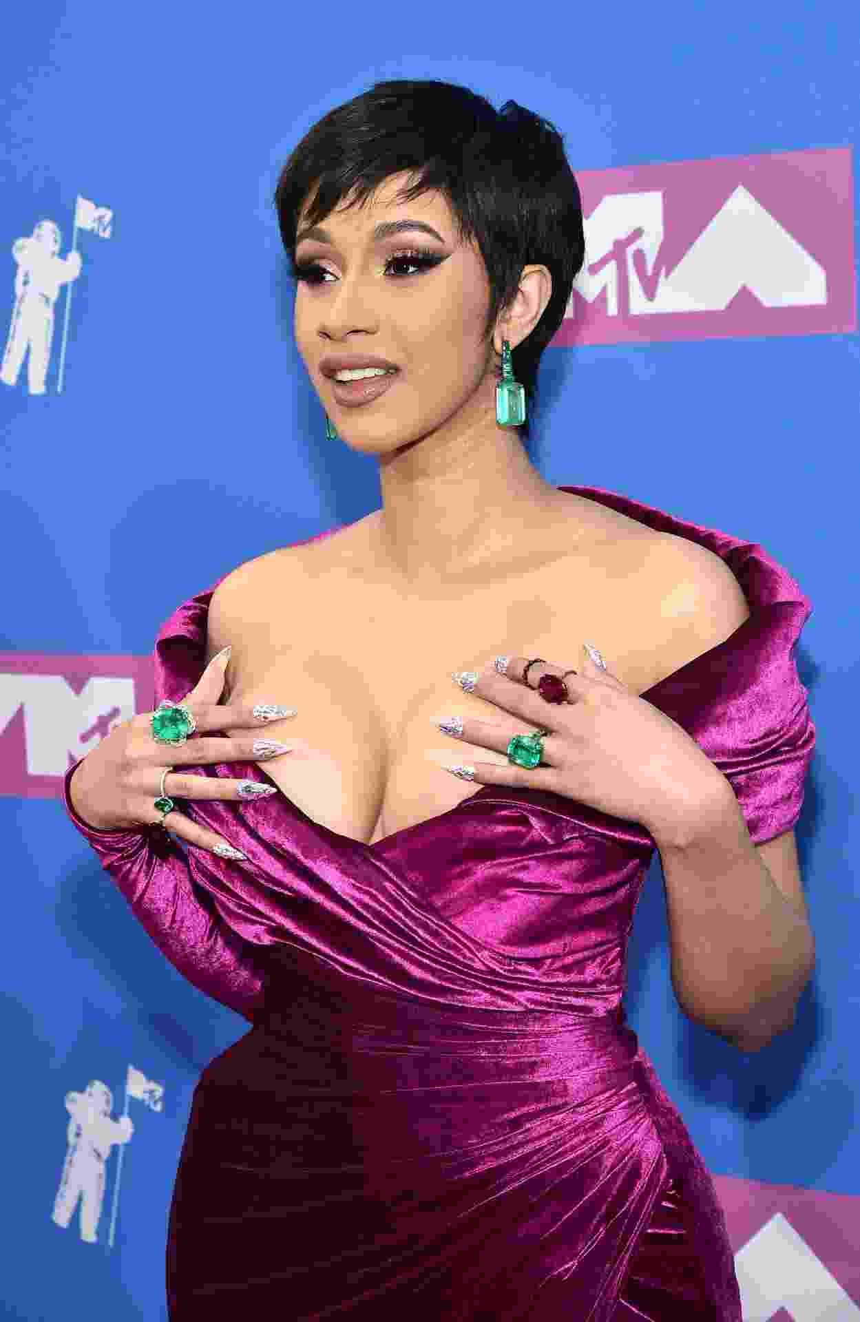 A rapper Cardi B no tapete pink do VMA 2018, em Nova York - Mike Coppola/Getty Images for MTV