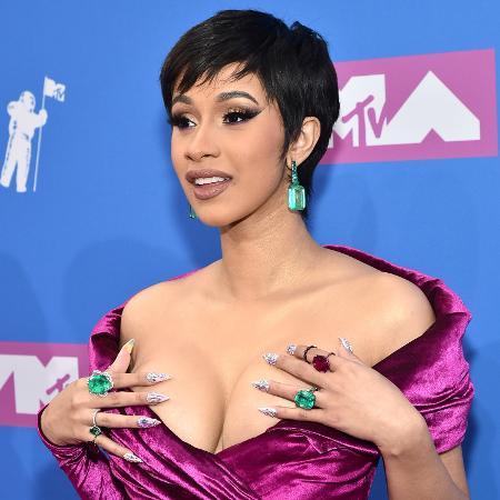 A rapper Cardi B no tapete pink do VMA 2018, em Nova York - Mike Coppola/Getty Images for MTV