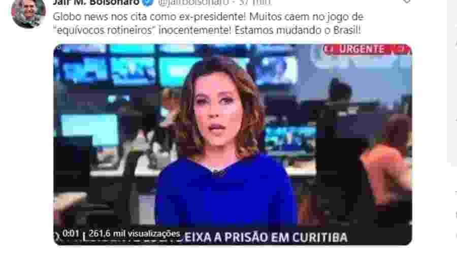 Bolsonaro comenta no Twitter erro de Natuza Nery na GloboNews  - Reprodução/Twitter