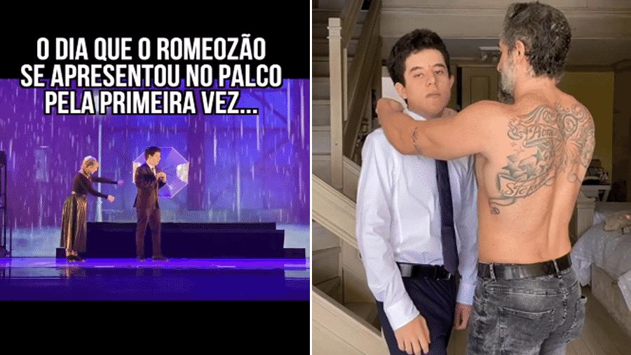 Romeo, filho de Marcos Mion se apresenta em musical de escola de teatro em São Paulo. Antes, se preparando para o espetáculo com ajuda do pai. - Reprodução/Instgram
