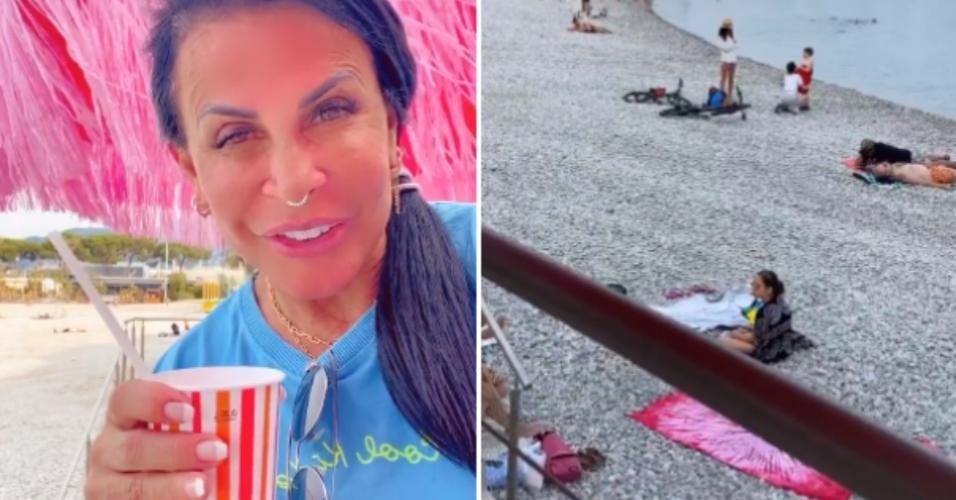 Gretchen mostra banhistas em praia na França