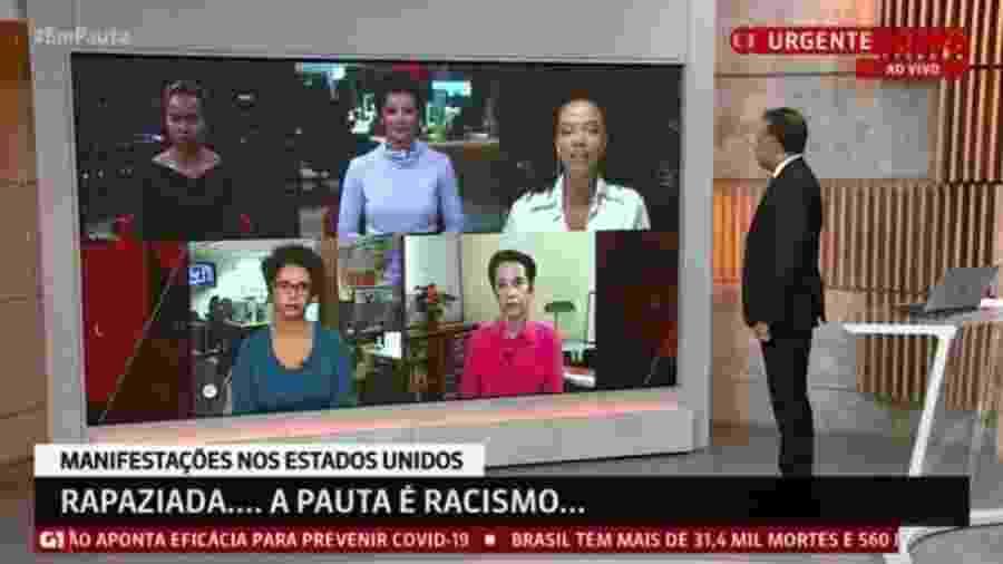 """""""Em Pauta"""", na GloboNews, reúne apenas jornalistas negros para discutir racismo - Reprodução"""