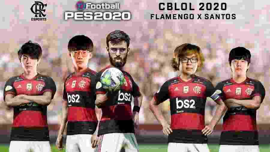 Montagem coloca os jogadores de LoL do Flamengo no corpo dos boleiros rubro-negros - Reprodução/Flamengo