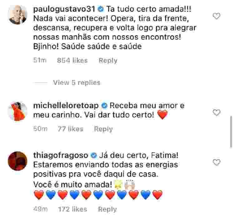 Fátima Bernardes está com câncer; Famosos comentam (8) - Reprodução/Instagram - Reprodução/Instagram