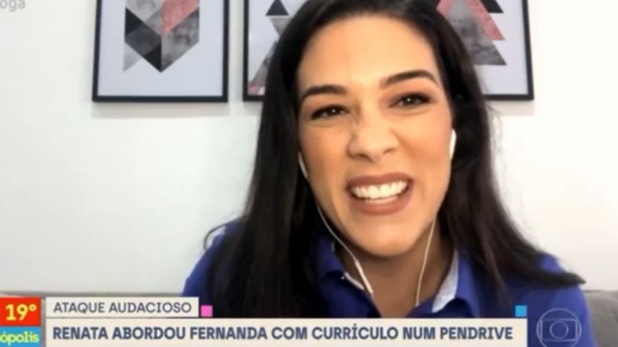 """Renata Silveira no """"Se Joga"""", entrevistada por Fernanda Gentil - Reprodução/TV Globo"""