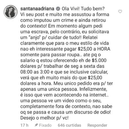 Comentário de Adriana Sant'Anna - Reprodução/Instagram - Reprodução/Instagram