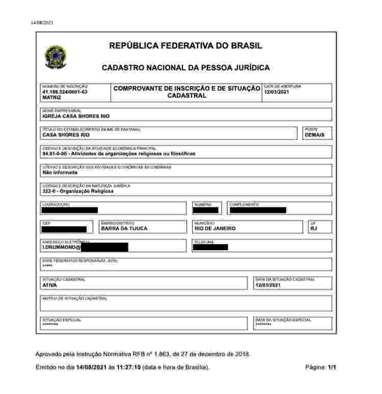 CNPJ da Igreja Casa Shores - Reprodução/Receita Federal do Brasil - Reprodução/Receita Federal do Brasil