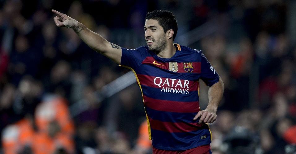 Suarez comemora gol contra o Athletic Bilbao pelo Campeonato Espanhol