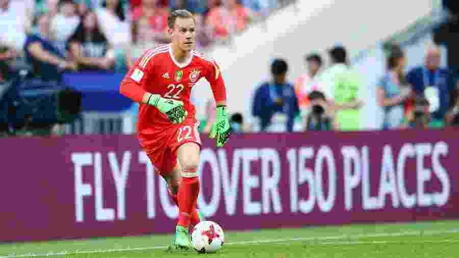 Marc-André ter Stegen em ação durante jogo da seleção alemã contra Camarões - Alex Grimm/FIFA via Getty Images