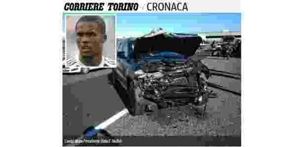 Carro de Douglas Costa ficou com a frente destruída - Reprodução