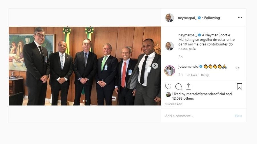 Neymar pai foi ao vestiário para encontrar o filho após lesão no amistoso de quarta-feira - Reprodução/Instagram