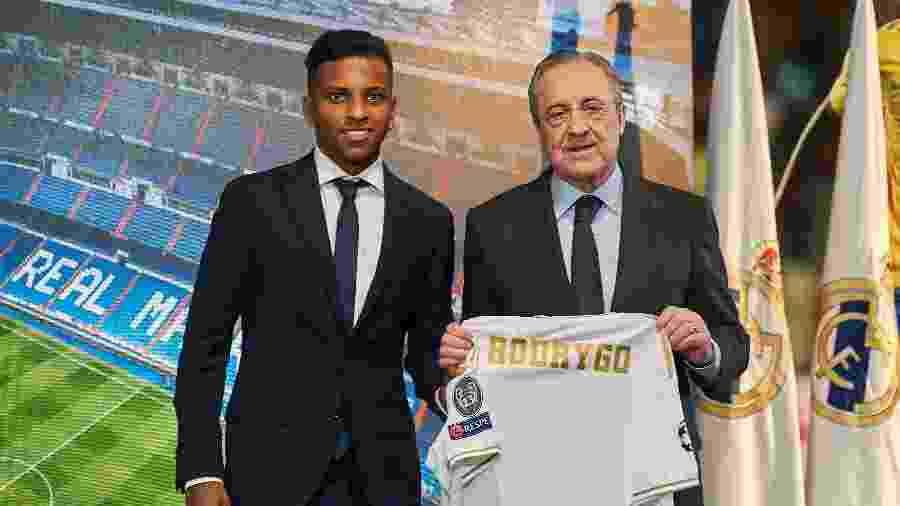 Rodrygo é apresentado pelo presidente do Real Madrid, Florentino Pérez - Quality Sport Images