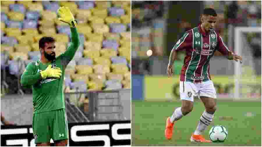 O goleiro Muriel e o volante Allan, hoje no Fluminense, são crias das categorias de base do Fluminense - Colagem de fotos de Mailson Silva / Fluminense e Lucas Merçon / Fluminense