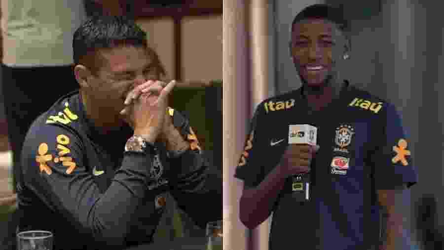 Thiago Silva, de 35 anos, foi aos risos após declaração do jovem lateral Emerson, uma década e meio mais jovem - Reprdouçaõ/YouTube