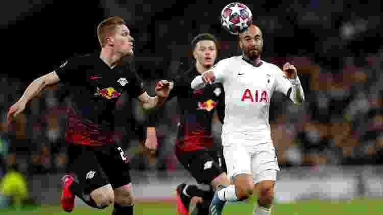 Lucas Moura durante partida entre Tottenham e Leipzig pelas oitavas de final da Liga dos Campeões - Andrew Boyers/Action Images via Reuters