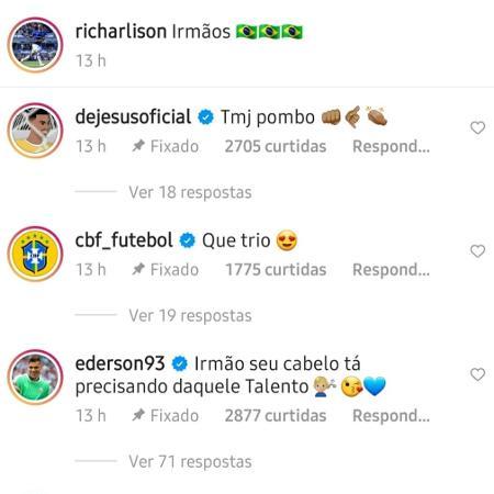 Ederson zoa cabelo de Richarlison após vitória do City sobre o Everton - Reprodução/Instagram
