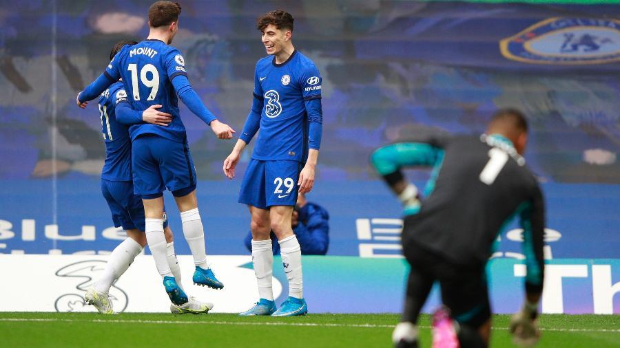 Havertz comemora gol marcado pelo Chelsea contra o Fulham em duelo do Campeonato Inglês - Ian Walton / Reuters