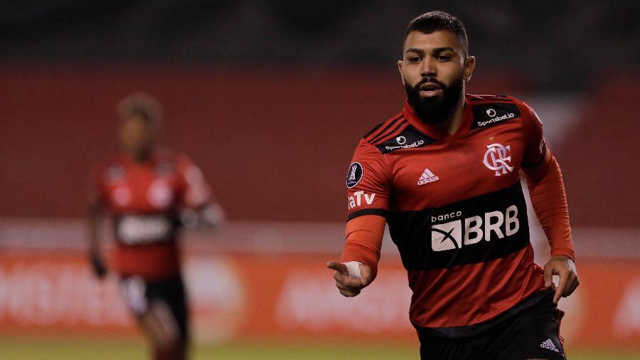 Gabigol, atacante do Flamengo, comemora gol contra a LDU - Twitter Conmebol Libertadores