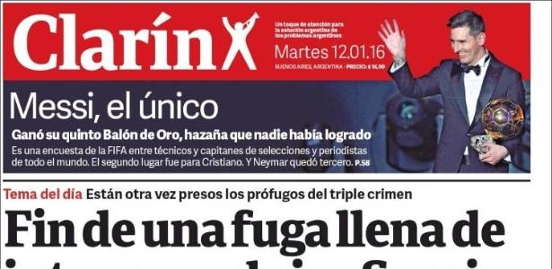 Mesmo na Argentina, prêmio de Messi é destaque secundário em jornais