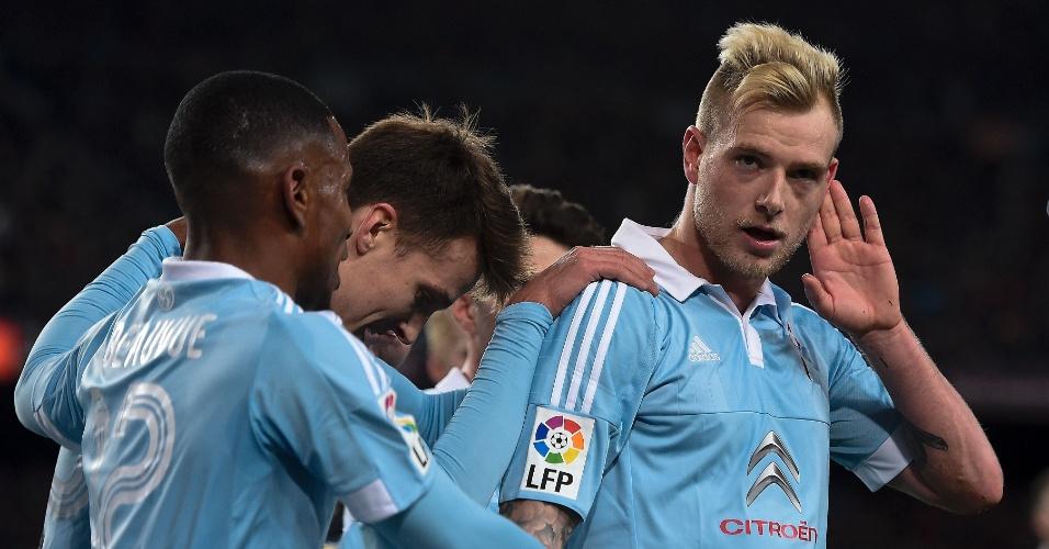 Guidetti, do Celta, comemora gol marcado de pênalti contra o Barcelona