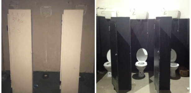 Lado esquerdo, banheiro destruído por torcida do Fla. No direito, como ficou após obra
