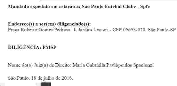 Mandado spfc - TJ-SP - TJ-SP